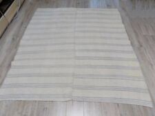 Antique hand-woven HEMP Plaid Rug Blanket 19thC 150x160cm Good condition