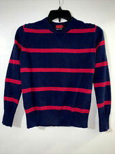 Super Charged Navy Long-sleeves Sweater With Red Stripes Boys Size M / 8