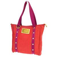 Auth LOUIS VUITTON Cabas MM Tote Shoulder Bag Antigua Canvas Red M40034  30BP571