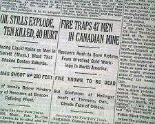 HOLLINGER GOLD MINE Timmins Ontario Canada FIRE Miners Disaster 1928 Newspaper