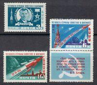 Russia 1961 MNH Mi 2473A-2475A Sc 2463-2465 Gagarin,Rocket,Sputnik,space **