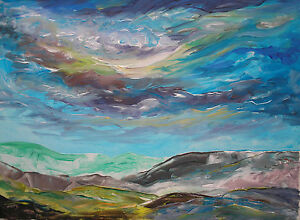 original contemporary acrylic landscape painting on canvas with free postage