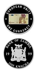Zambia 10 Euro Commemorative Of Eu Single Currency 1999 1000 Kwacha Proof Crown