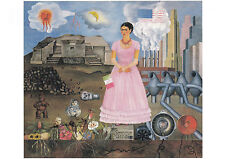 Kunstpostkarte - Frida Kahlo: Selbstporträt an der Grtenze zwischen Mexiko und