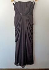 Davids Bridal Size 6 Brown Strapless Drape Sides Gown Gathered Pleated Dress