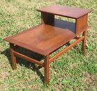 Vintage Step Up Side End Table Mid Century Modern w Brass Feet Local SC Pickup