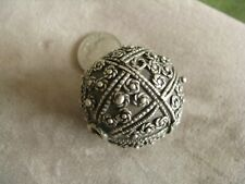 Giant  Antique Yemen Tribal Ethnic Silver Bead Hand Crafted 32x31mm