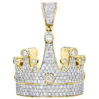 "10K Yellow Gold Round Diamond Royalty Crown Pendant 1.55"" King Hat Charm 3.65 CT"