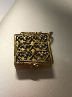 Antique Vintage Snuff Pill Box Brass Metal Ornate Pendant