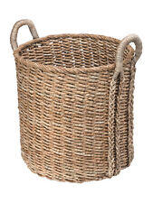 Large Round Handwoven Chunky Sea Grass Basket, Dia 20 x 24 inch, Natural Color