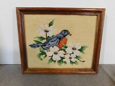 Vintage Needlepoint Robin Framed Picture