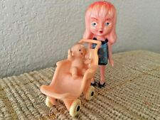 Vintage Child Girl Doll with Baby and Stroller
