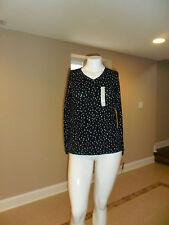 Sonoma Life+Style women's V-neck Long sleeve Tee Black Polka Dot Size: Large New