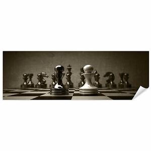 Postereck 0168 Poster Leinwand Panorama, Schach Vintage Spiel Brett