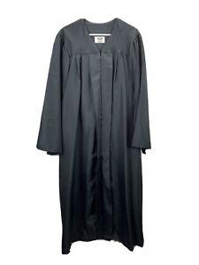 "Jostens Graduation Gown Black size 6'1"" to 6'3"" Zip Front Unisex Polyester"
