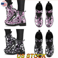 Women Ladies Punk Ankle Boots Winter Fur Lining Warm Lace-Up Gothic Poker Shoes
