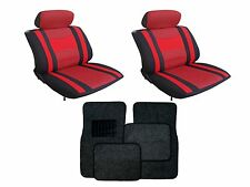 Mesh Red & Black Seat Covers with Black Carpet floor Mats for Cars SUVS- Combo