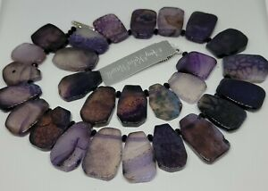 Amy Kahn Russell Sterling Purple Agate Toggle Necklace