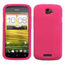 For T Mobile HTC ONE S  Rubber Silicone Gel SKIN Phone Case Cover Hot Pink