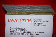 "1 Cs. DA21 2"" Bright 15 Gauge Angled Finish Nails 16,000 Senco,DeWalt,Hitachi"