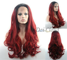 Burgundy Red Lace Front Ombre Long Wig Friendly Wavy Hair Full Wigs Heat Safe