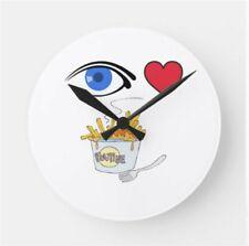 I Love Poutine - I Heart Poutine Round Clock. New! Free Shipping!