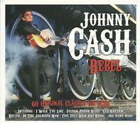 JOHNNY CASH REBEL - 3 CD BOX SET - RING OF FIRE, I WALK THE LINE & MORE