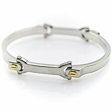 Stainless Steel Unisex Cuff Segment Bracelet (7''Youth Size) hinge safety lock