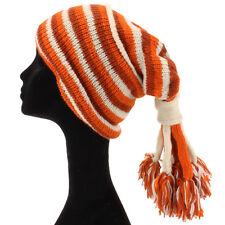 Slouch Beanie Gorro De Lana Punto Hippie con borlas de lana forrada moho, Naranja, Crema