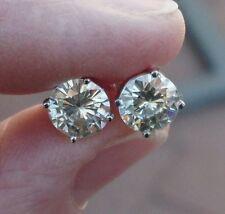 2 ctw Charles & Colvard Moissanite Diamond Earrings - 14K - Pierced Screw Backs
