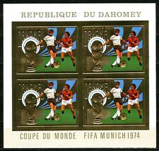 Benin Dahomey 1974 Munich Football Gold Foil Or Johan Cruijff Mi 586 B cote 160