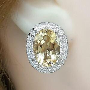 Genuine 15.00ctw Golden Citrine & Diamond Cut White Sapphire 925 Silver Earrings