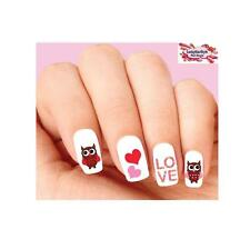 Waterslide Owl Nail Decals Set of 20- Valentines Day Owls Love & Hearts Assorted