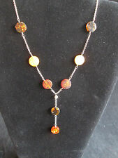 Sterling Silver and Multi Color Amber Round Pieces Y Shaped Necklace OOAK Unique