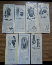 7 ROSEVILLE POTTERY ROZANE WARE ADVERTISEMENTS circa 1904-05