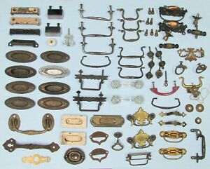 Vintage Lot of Drawer Pulls & Knobs Brass Glass Deco Victorian Other