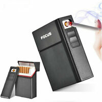 Cigarette Case Holder Box USB Electric Rechargeable Lighter Flameless Windproof