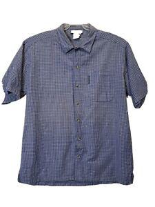 Columbia Mens Short Sleeve Button Up Shirt Men's Size Large L White Blue