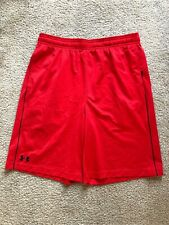 Mens Under Armour Shorts Size L Loose Heat Gear Red Basketball Euc