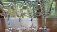 Vintage Libbey Etched Goblets Wine water glasses fire polished elegant stem 4 8z