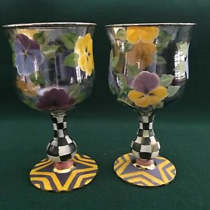 Set of 2 Mackenzie-Childs 1983 PANSY Hand Painted GOBLETS Water Wine (have 8)