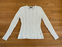 Brooks Brothers Womens sz M/L white Supima Cotton white cable knit sweater