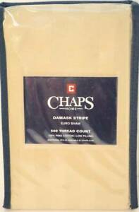 Chaps Damask Stripe 1 Euro Sham Oatmeal 500 Thread Ct 100% Pima Cotton 26 x 26