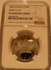 Canada 1989 Platinum 1 oz $50 NGC PF-69UC Maple Leaf Mintage - 5,965