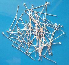 """250 X 1.5"""" medio (.7mm) de Plata Plateado Eyepins, resultados para la fabricación de joyas"""