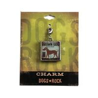 Dogs Rock Brown Dog Charm with Lobster Clasp - Double-Sided