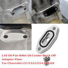 Set of Oil Port Adapter Billet Oil Cooler Block Plate For LS1 LS2 LS3 LS6 LQ4