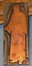 "Antique MASONIC HOODED ROBE GUIDE w/ Lg SKULL & BONES 3"" Copper Printing Plate"