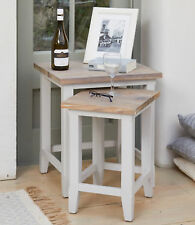 Baumhaus Signature Nest of Two Tables - Solid Wood Distressed Grey Painted Limed