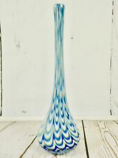 Hand Blown Studio Art Glass Swirl Vase Blue White Swirls Spirals Long Neck 16 In